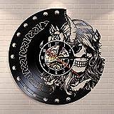 Mysterious Norse Magick Vinyl Record Mute Quartz Wall Clock Beauty Female VikingHead Skeleton Girls Retro Hanging Watch