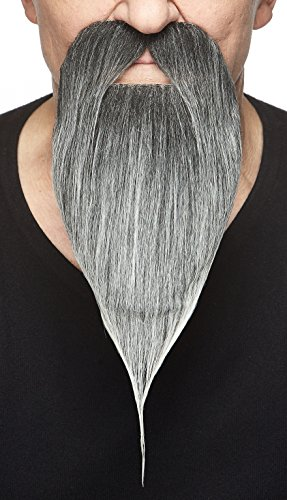 Mustaches Self Adhesive, Novelty, Philosopher Fake Beard, False Facial Hair, Costume Accessory for Adults, Salt and Pepper Color