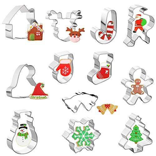 SUNSK Plätzchen Ausstechformen Weihnachten 12 Stück Ausstecher Edelstahl Ausstechform Kinder Plätzchenformen Set Kekse Kuchen Backen Christmas