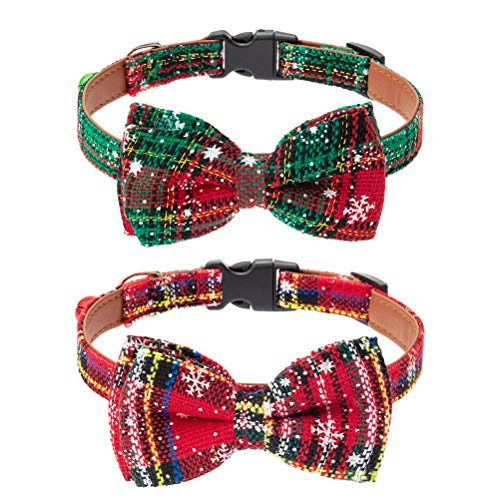 BINGPET Christmas Snowflake Dog Collar with Detachable Bowtie 2 Pack - Pu Leather Adjustable and Soft Pet Puppy Collars with Christmas Element Patterns for Small and Medium Dogs