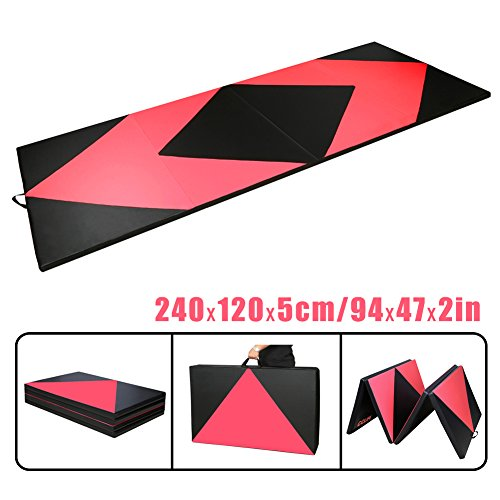 CCLIFE Rot&Schwarz Raute Klappbare Weichbodenmatte Turnmatte Fitnessmatte Gymnastikmatte rutschfeste Sportmatte Spielmatte, Farbe:240x120x5 cm