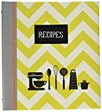 C.R. Gibson Green Striped Recipe Binder, 9'' x 9.5'', 20 pgs.