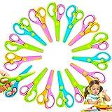 15 Pcs Plastic Safety Scissors,Pre-School Training Scissors,Child Craft Scissors with Ergonomic Handle for Kids Paper-Cut School Art Supplies