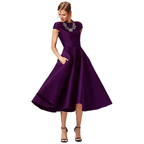 f2a8ebbc6f8 Fashionbride Women s Formal Evening Gown Satin Short Sleeve Tea-Length  Mother of The Bride Dress