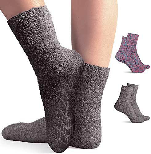 Moisturizing Spa Socks Aloe Infused | 2-Pair | Fuzzy Non Skid Gel Sleeping Socks