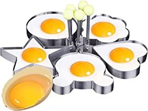 pensenion 5Pcs Fried Egg Mold Stainless Steel Non-Stick Egg Rings Egg Shaper Pancake Mould with Handle for Cooking Kitchen Tools
