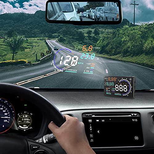 icyant A8 Display Head-Up per auto da 5,5' con schermo HUD, proiettore per parabrezza OBDII, avviso di eccesso di velocità, tempo, misurazione del chilometraggio per tutti i veicoli, guida più sicura