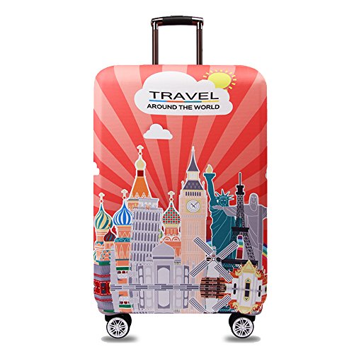 TRAVEL KIN Thickened Luggage Cover 18/24/28/32 Inch High Elastic Travel Suitcase Spandex Protective Cover (S(18'-21'luggage), World Attractions)