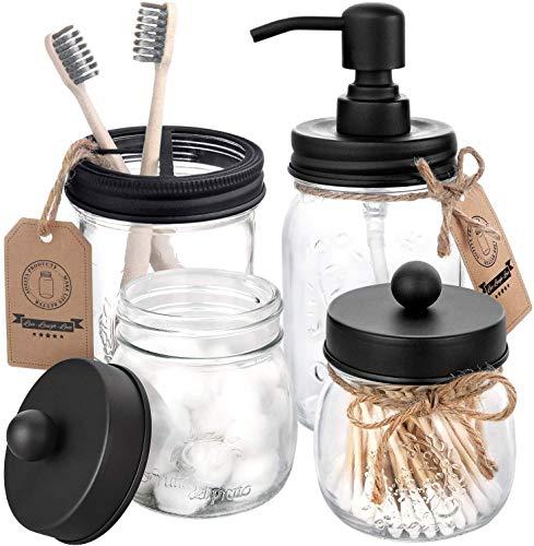 AOZITA Mason Jar Bathroom Accessories Set 4 Pcs  Mason Jar Soap Dispenser amp 2 Apothecary Jars amp Toothbrush Holder  Rustic Farmhouse Decor Bathroom Countertop Vanity Organize Black