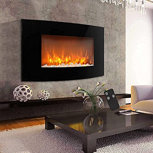 INMOZATA Electric Fire Wall Mounted Recessed 35inch Electric Fireplace Low Noise Electric Stove Fire Heater Curve Glass With Pebbles for Home Living Room Decoration Heating
