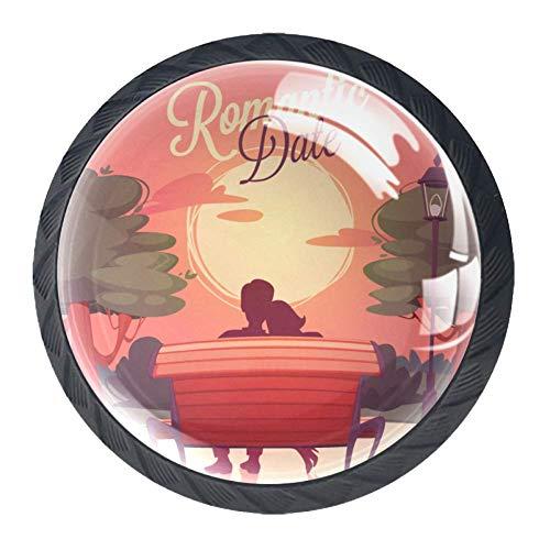 Romantische kaart lade knop Pull handvat kristal glas cirkel vorm kabinet lade trekt kasten knoppen met schroeven voor Home Office kabinet kast 4 stuks