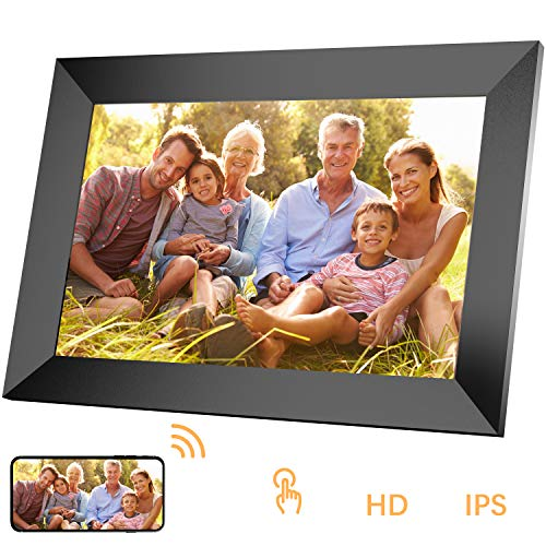 petit Homtiky 10 inch WiFi LED digital photo frame, IPS touch screen 1280 x 800 full HD resolution, photo / music / video display, player calendar, clock, app support, SD card