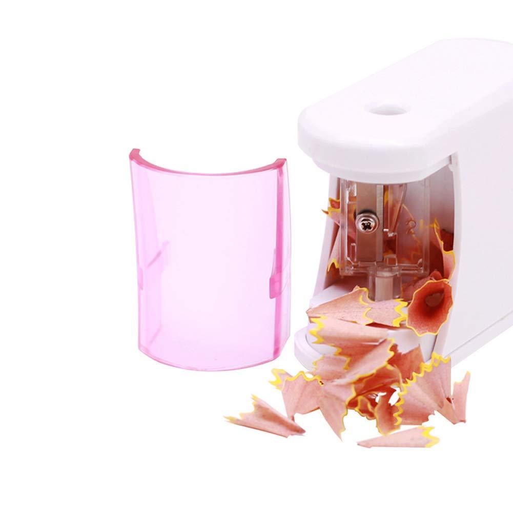 El aprendizaje de los niños papelería eléctrico automático sacapuntas portátiles solo agujero Sacapuntas con tapa para Pink escuela de la oficina: Amazon.es: Oficina y papelería
