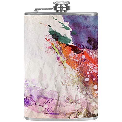 Frasco plano para licor, botella de alcohol, para exteriores, camping, fiesta, abstracto, art1