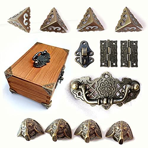 Juego de 1 caja de joyería antigua con cierre de cerrojo y bisagras de mango, protectores de esquina, para caja de joyas de bronce, caja no incluida