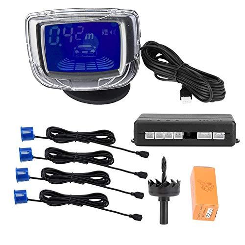 aqxreight Sensores de estacionamiento de respaldo, sistema de detección de respaldo de zumbador de asistencia de estacionamiento de coche con pantalla LCD de 2 pulgadas con 4 sensores de radar(azul)