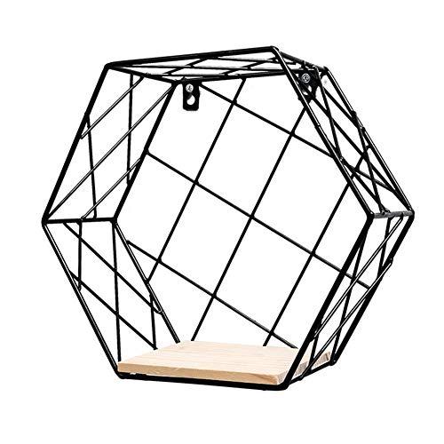 joizo 1PC Schmiedeeisen Wandbehang Aufbewahrungsbox Hexagon Grid-Storage Einfache Ins Stil Storage Rack Metallwanddekoration Display (23,5 * 20,5 * 10,5 cm)