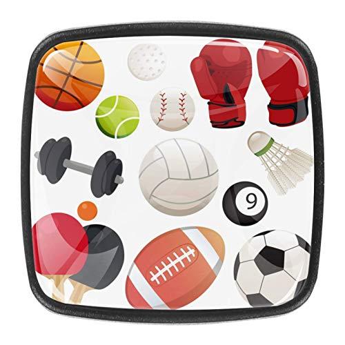 [4 piezas] pomos de aparador, coloridos pomos decorativos para cajón, decoración del hogar, elementos de bola deportiva.