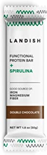 Landish Spirulina Superfood Protein Bar - Double Chocolate - 50 Grams - Box of 12 - Gluten Free - Dairy Free - Soy Free - Peanut Free - Fill The Nutrient Void