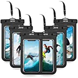 JOTO Universal Waterproof Pouch Cellphone Dry Bag Case for iPhone 12 Pro Max 11 Pro Max Xs Max XR XS X 8 7 6S Plus, Galaxy S10 S9/S9 +/S8/S8 +/Note 10+ 10 9, Pixel 4 XL up to 7' -6 Pack, Black