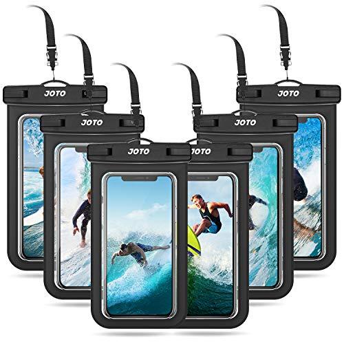 JOTO 6 uds. Bolsa Estanca Móvil Universal, Funda Impermeable para iPhone 12 Mini/Pro/Pro MAX/11/XS/XR/8 Plus/7 Plus, Galaxy Note10+/S20 Ultra/S20+/S10e, Huawei hasta 6,9' Diagonal -Negro