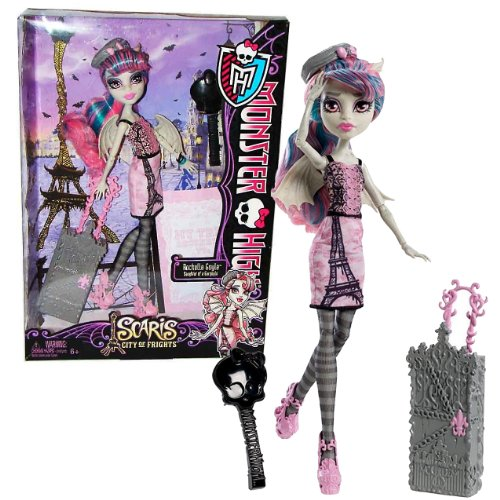 Monster High Mattel Year 2012 Scaris City of Frights Deluxe Series 11 Inch Doll Set - Rochelle GOYLE Daughter of a Gargoyle with Rolling Suitcase, Beret Hat, Hairbrush and Doll Stand