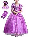 Eleasica Vestido de Princesa Rapunzel Niña 3-8 Años Niños Vestido de Disfraz Traje de Cosplay Accesorios Guantes Guirnalda Vestido para Ceremonia Navidad Halloween Carnaval