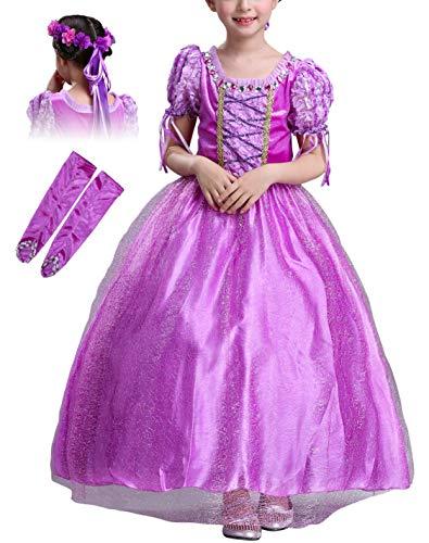 Eleasica Vestido de Princesa Rapunzel Nia 3-8 Aos Nios Vestido de Disfraz Traje de Cosplay Accesorios Guantes Guirnalda Vestido para Ceremonia Navidad Halloween Carnaval