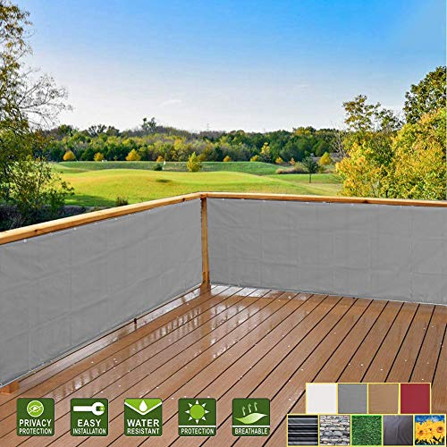Hisunny Outdoor Privacy Screens And Panels for Patio 80x450cm High Visibility Reduction Patio Privacy Screen Includes Rope, Zip Ties for Garden Yard Backyard Deck Gray