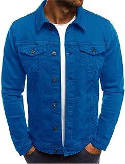 Giacca da Uomo Manica Lunga Denim Vintage Jeans Coat Transizione Moda giacce Felpata Tempo Libero Classico Pulsante Legger...