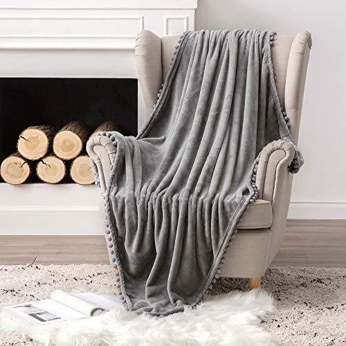 MIULEE Flannel Sherpa Bed Blankets Warm Fluffy Fleece Plush Reversible Microfiber Solid Blankets for Bed Couch Sofa Settees Lightweight Double Twin Size 127x153 CM 50x60 Inch Grey