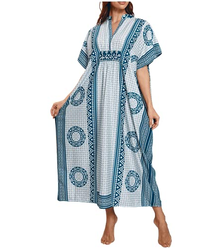 MEILING Women's Print Kaftan Nightgown Long Caftans Beach Maxi Dress Bikini Swimsuit Bathing Suit Cover Up Swimwear (Blue H)