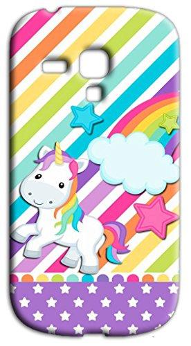 Mixroom - Cover Custodia Case in TPU Silicone Morbida per Samsung Galaxy S3 Mini I8200 I8190 S279 Unicorno Arcobaleno