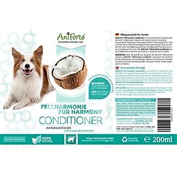 AniForte - Après-shampooing pour chien 200 ml - Shampooing naturel pour poils longs et courts pour chien - Soin et protection avec extrait de noix de coco et aloe vera - Finis les nœuds
