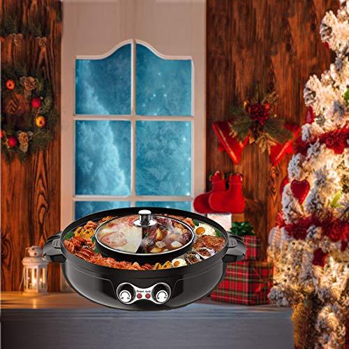 TTLIFE 2-in-1 Grill Elettrico Hot Pot Scaldavivande Elettrico Senza Fumo Barbecue e Hot Pot Split con Regolazione Della Temperatura 2200W