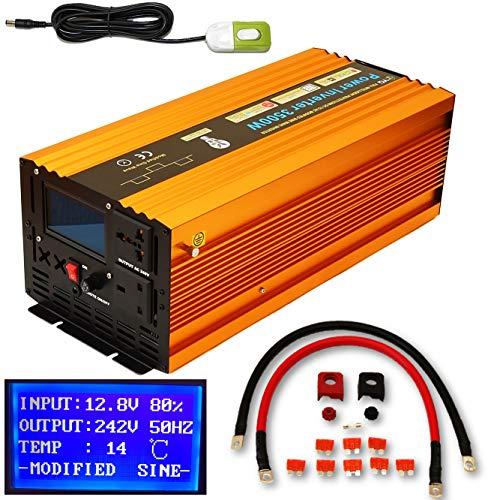 YQX Intelligenter Wechselrichter, 3500 W / 7000 W (Spitze), DC 12 V auf Wechselstrom 240 V, LCD-Display, Soft-Start + Fernbedienung