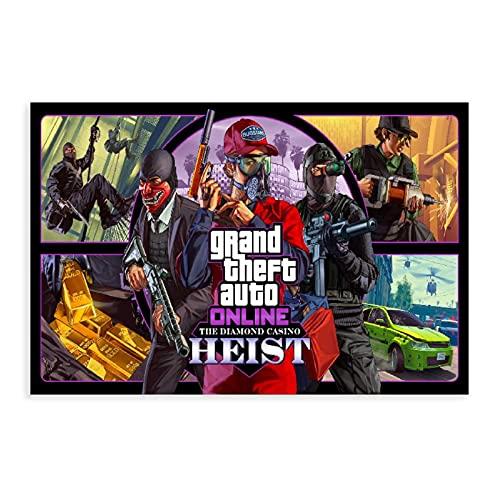 Grand Theft Auto V Game Poster GTA 5 Online The Diamond Casino Heist Leinwand Poster Wandkunst Dekor Druck Bild Gemälde für Wohnzimmer Schlafzimmer Dekoration ungerahmter Stil 20 × 30 cm