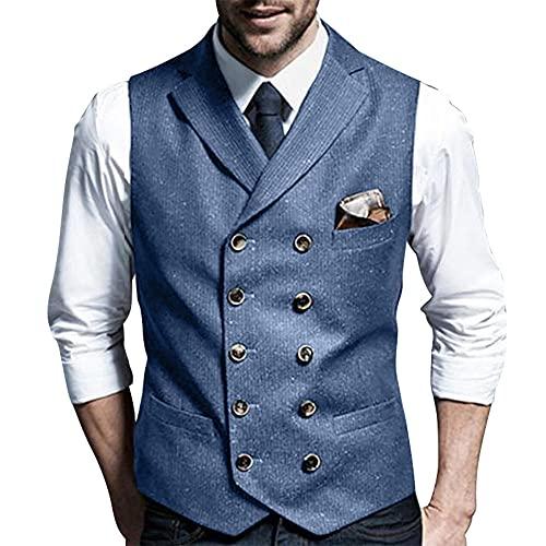 FFAA Chaleco de hombre de doble botonadura Cardigan solapa Slim-Fit Chaleco