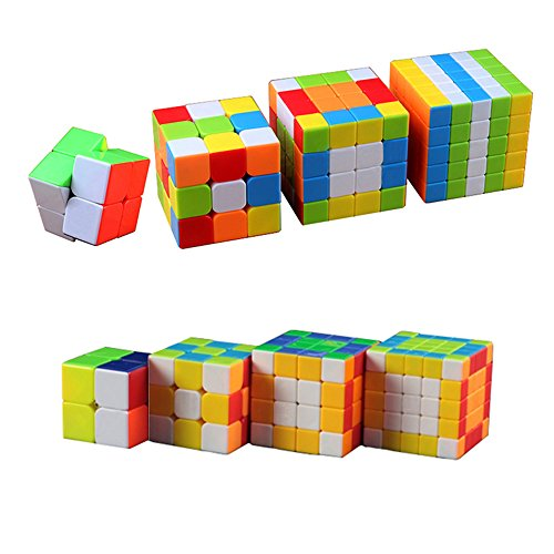 Wings Of Wind® Umweltfreundlich Kunststoff Würfel Pack, verstellbar Smooth Magic Cube Set (2x 2, 3x3, 4x4,5x5)