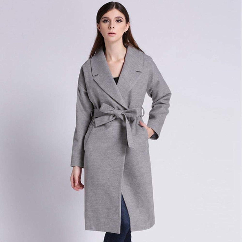 QZHE Frauen Trenchcoat Langer Mantel-Winter-Elegante Spitze-Lange Hülsen-Jacken-Beilufige Jacke Der Frauen