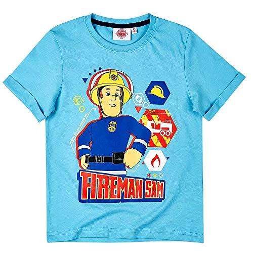 T-Shirt to Rescue | Feuerwehrmann Sam | Größe 98-128 | Kinder Jungen Shirt, Größe:104, Farbe:Hellblau