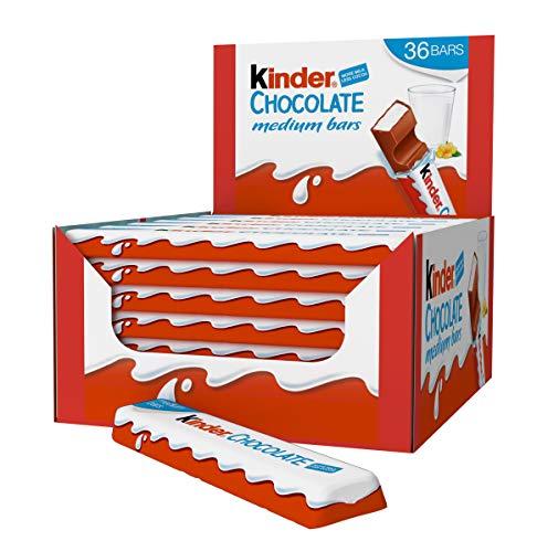 Kinder Chocolate Medium Bars Box Of 36 Single Bars X 21g