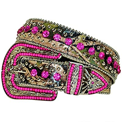 Western Peak Women's Camouflage Leather Studded Rhinestone Bead Belt (Medium, Hot Pink)