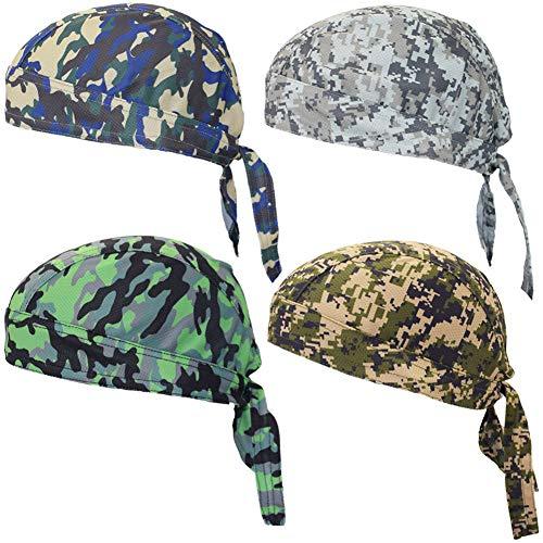 Camo Doo Rags Sweat Wicking Hard Hat Helmet Liner Beanie Dew Rag Hat Chemo Cap Head Wraps for Men and Women