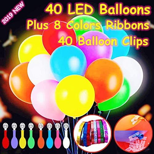 Feeke 40 Ballons Lumineux à LED,Les lumières de fête Clignotantes de Couleurs mélangées de qualité supérieure durent 12 à 24 Heures,Parfait pour Les fêtes et Les célébrations de Vacances.
