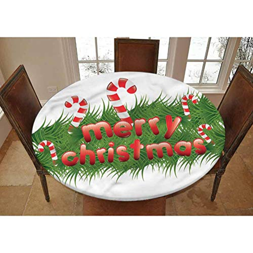 LCGGDB Christmas Elastic Edged Polyester Fitted Tablecolth -Candy Canes Garland- Small Round Fitted Table Cover - Fits Tables up to 40-44' Diameter,The Ultimate Protection for Your Table
