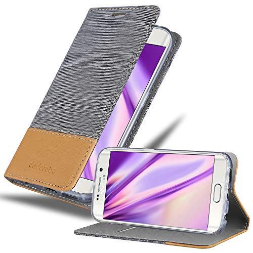 Cadorabo Hülle für Samsung Galaxy S6 Edge - Hülle in HELL GRAU BRAUN – Handyhülle mit Standfunktion & Kartenfach im Stoff Design - Hülle Cover Schutzhülle Etui Tasche Book