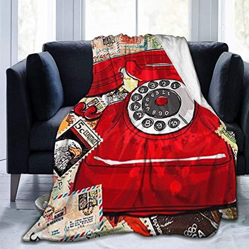 AEMAPE Manta Estampada con teléfono con Sello, Manta Ligera, súper Suave, de Microfibra, Mantas para sofá, Cama, Sala de Estar, sofá, Silla 50x40 Pulgadas