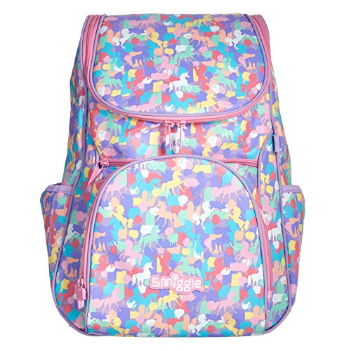 Smiggle Illusion Kids School Backpack for Boys & Girls with Padded Laptop Compartment & Dual Drink Bottle Sleeves  Unicorn Print