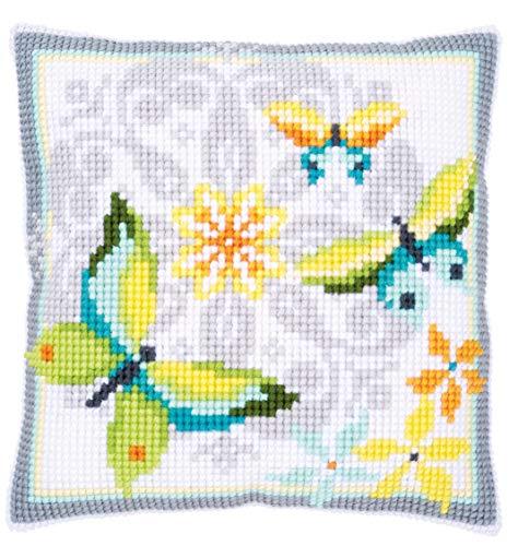 Vervaco Kussen: Vlinders & Bloemen, Acryl, Gesorteerd, 12 x 1 x 17 cm